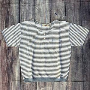 VTG DVF Striped Button Neck Pocket Tee T-Shirt
